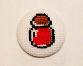 Legend of Zelda Red Potion, Cross Stitch Pinback Button, Classic Nintendo Badge, Gifts for Gamers