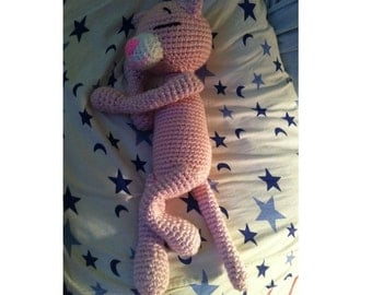 Sleeping Pink Panther. Crocheted toy. Made to order.