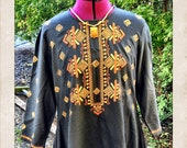 "Hand-made Black ""Tribal"" Dress with Embroidery"
