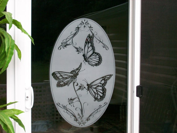 Items Similar To Window Cling Etched Glass Look Decal