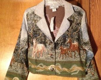 Size XL)-TAPESTRY-LIKE Horse Jacket by Southwest Canyon