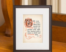 Thoughts of Byron Concerning Courage 5x7 Print, No. 9, Inspirational Poem Art Prints