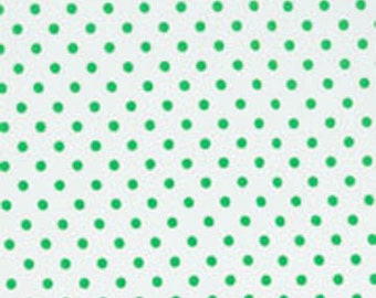 Fat Quarter White/ Mint Green Dot from RJR Fabrics Crazy for Dots & Stripes