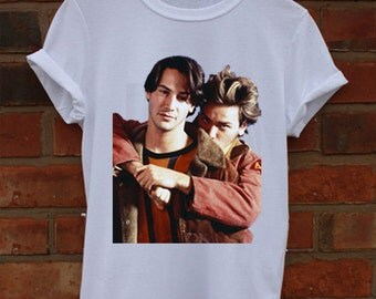 Keanu Reeves and River Phoenix My O wn Private Idaho White Crew Neck T