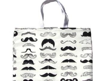 """Tote Bag, Black and White Tote, Mustache Tote Bag,Soulder Bag, Mustache Bag, Moustache Tote Bag, Beard Tote Bag -17"""" x 13"""""""
