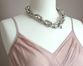 Big Aluminum Chain Link Necklace- Silver