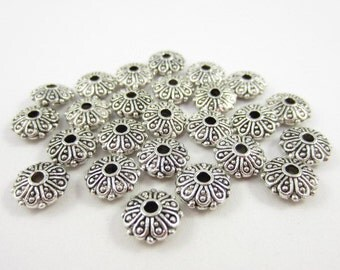 25pcs 10mm Rondelle Loops Dotted Edge Silver Plated Beads (F672)