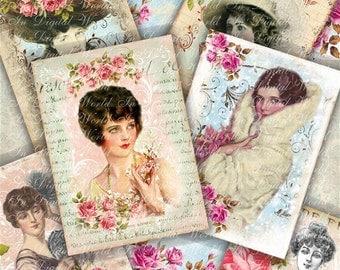 Digital Collage Sheet Vintage Retro Women Ladies Cards Printable Download