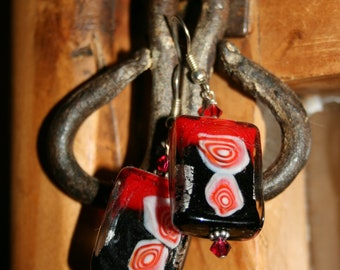 red, white and black earrings