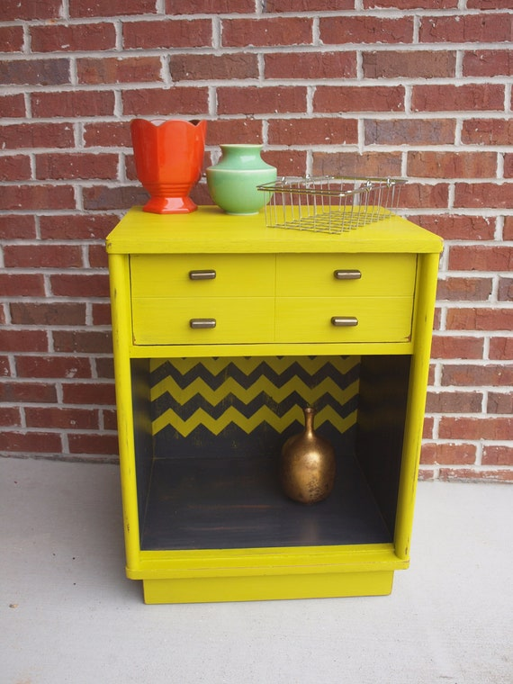 Reserved for Ivy---Mid Century Modern Drexel--Chevron Painted Nightstand/EndTable