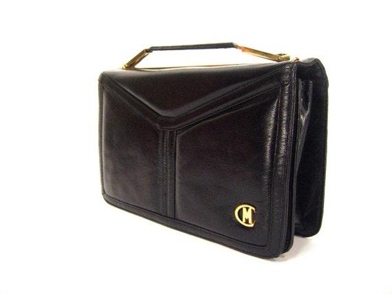 SALE 70s black leather boxy purse  / vintage structured handbag
