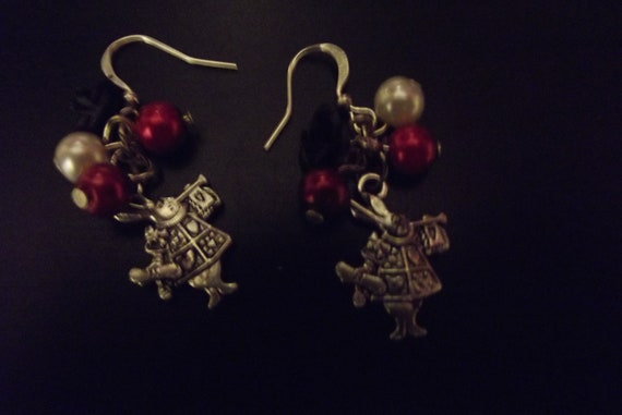 White rabbit themed Alice in Wonderland earrings.