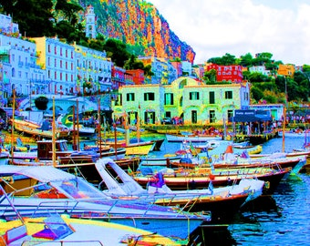 8x10 Neon Capri Italy Boat  Fine Art Photograph - Travel Photography - Mediterranean Home Decor