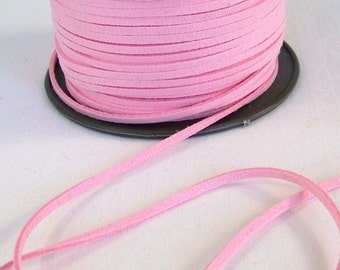 Pink Faux Suede Cord 20 Feet USA Seller