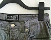 CRAZY SALE Vintage Versace metallic 7/8 trousers cigarette with medusa buttons