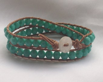 Turquoise Beaded Leather Wrap Bracelet