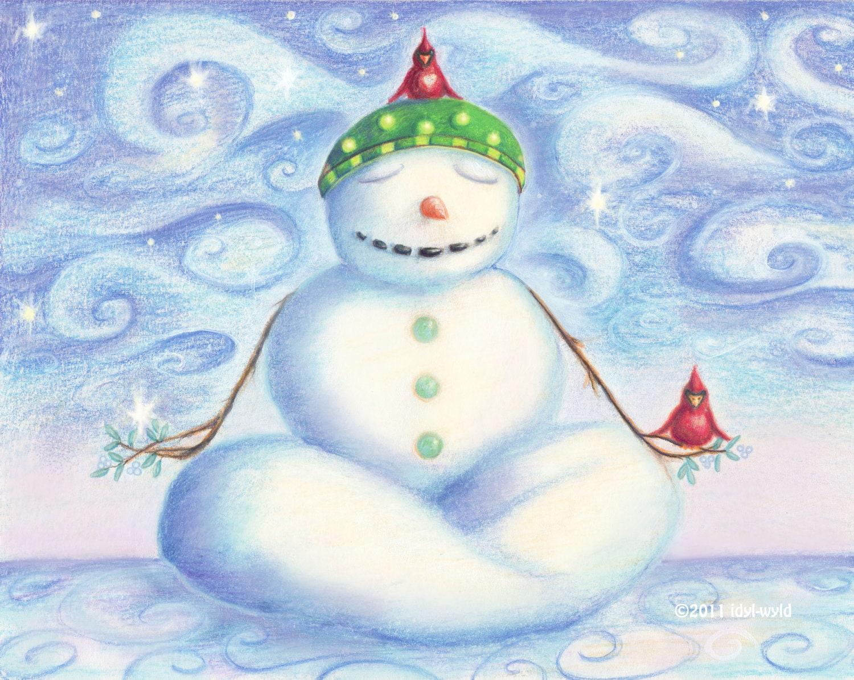 8 Count Yoga Snowman Christmas Cards By Idylwyldcreative