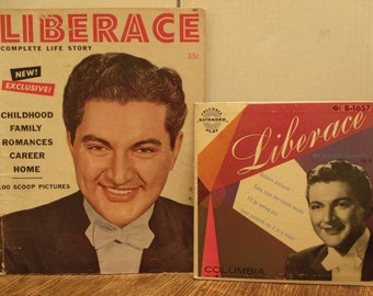 Liberace Complete Life Story Book And Liberace By Candlelight Vol Ii 45 Rpm Record B 1657