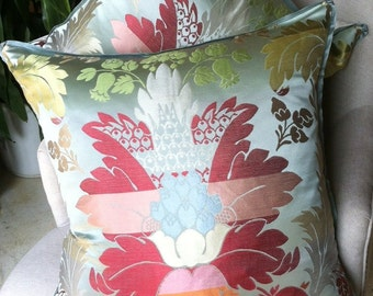 """Stunning Clarence House pillows, delicate silk flange with pleated corners, luxurious velvet back-22"""" x 22"""""""