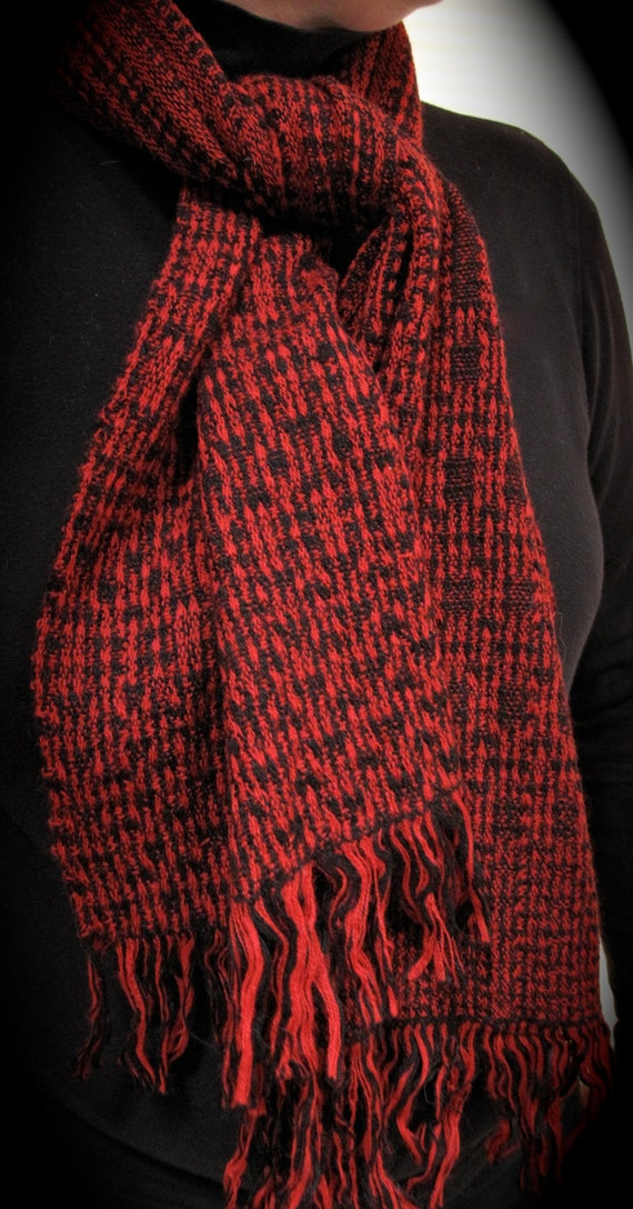 Handwoven Red and Black Scarf