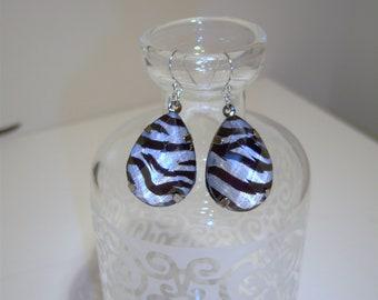 Silver Zebra striped earrings