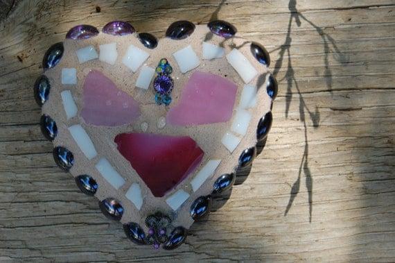 Mini Mosaic Heart - Purple and Pink