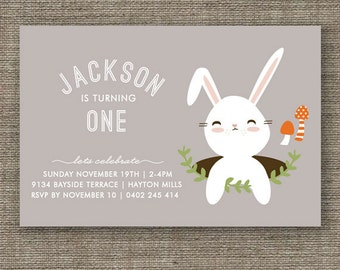 Bunny Rabbit Woodland Party Invitation for kids party, 1st 2nd 3rd 4th 5th boys birthday or Easter - pdf printable - gray, blue or green