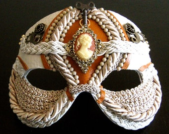 Steampunk Masquerade Mask in Cream With Victorian Cameo - Doll Face
