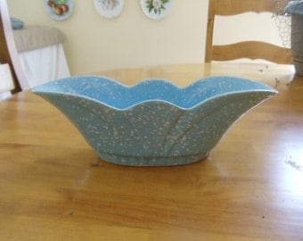 USA Pottery Blue Speckled Fluted Bowl 3003