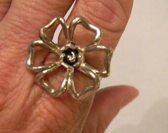 Large Unique Elegant Fashion Fun Open Design 925 Sterling Silver Large Artsy Flower Ring Size 10 #3169