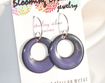 Artsy Boho Circle Disc Earrings - Copper Enamel Handmade - Purple Amethyst - Handmade Sterling Silver Earwires