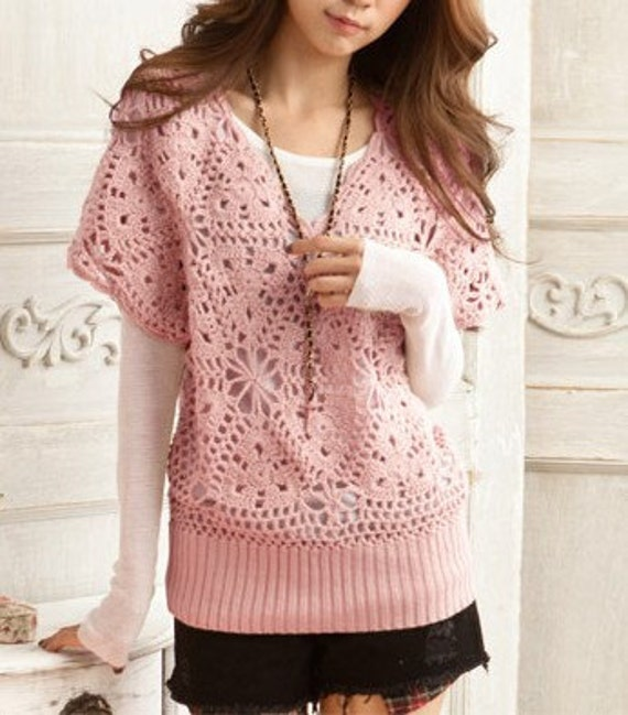 Women's sweater V collar lovely hook flower hollow-out sweater--SW030