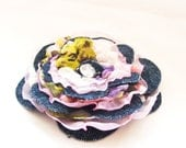 Flower Fabric Brooch Pin in blue violet pink white color - middle size