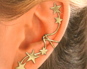 A PAIR  Full Ear, 5 Star Ear Cuffs in Sterling or Gold Vermeil  #5-ST