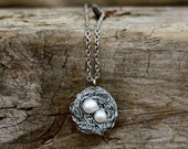 Bird's Nest Necklace with Freshwater Pearls, Mother's Nest Necklace, Twins Necklace, Two Eggs, Mother's Gift, Birdsnest, New Mother Gift
