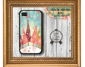 Christmas iPhone Case, Whimsical Trees iPhone Case, Hard Plastic Phone Case, iPhone 4, 4s, iPhone 5, 5s, 5c, iPhone 6, 6 Plus, Phone Cover