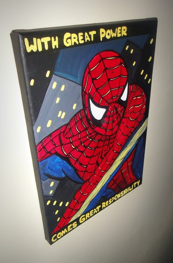 spider-man painting acrylics on canvas