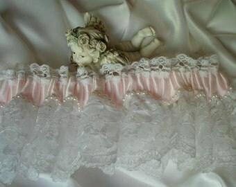 Wedding Garter, Pink and White Garter, Bridal Garter