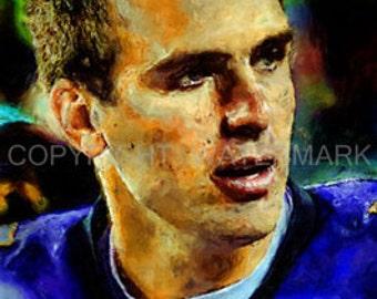New Joe Flacco Baltimore Ravens Art Portrait Print sn only 50, 12 x 18