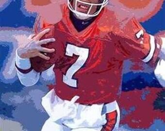Beautiful John Elway Denver Broncos Art Lithograph