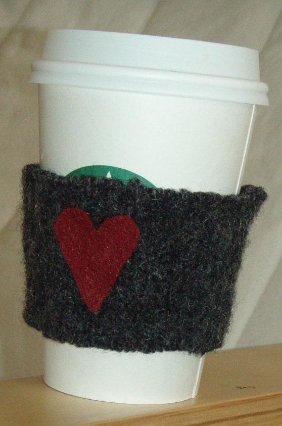 Eco Friendly - Felted Wool Coffee Mug Cozy Sleeve Grey