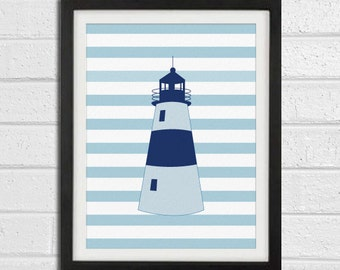 Lighthouse Art Print - Navy Blue Nursery Chldren Room - Beach Wall Art Home Decor 8x10