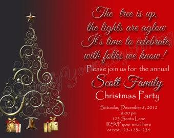 Printable Christmas Party Invitation - You Print DIGITAL FILE