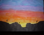 Southwest Sunset I Watercolor/ mixed media original painting Free Shipping.