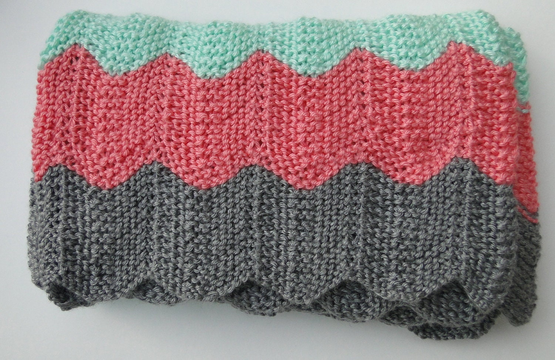 Aran Knitting Pattern : Modern Chevron Knit Baby Blanket by CraftNiteGirls on Etsy