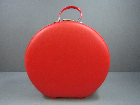 1960's Vintage American Tourister Tiara Red Round Suitcase Very Clean Interior FREE SHIP