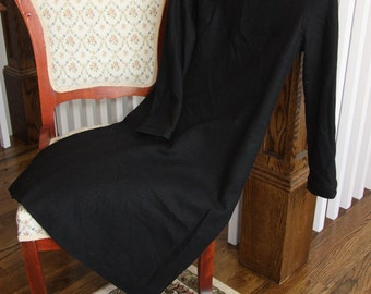 Vintage black wool dress for everyday or Halloween (witch or Wednesday Addams) Women's small/medium