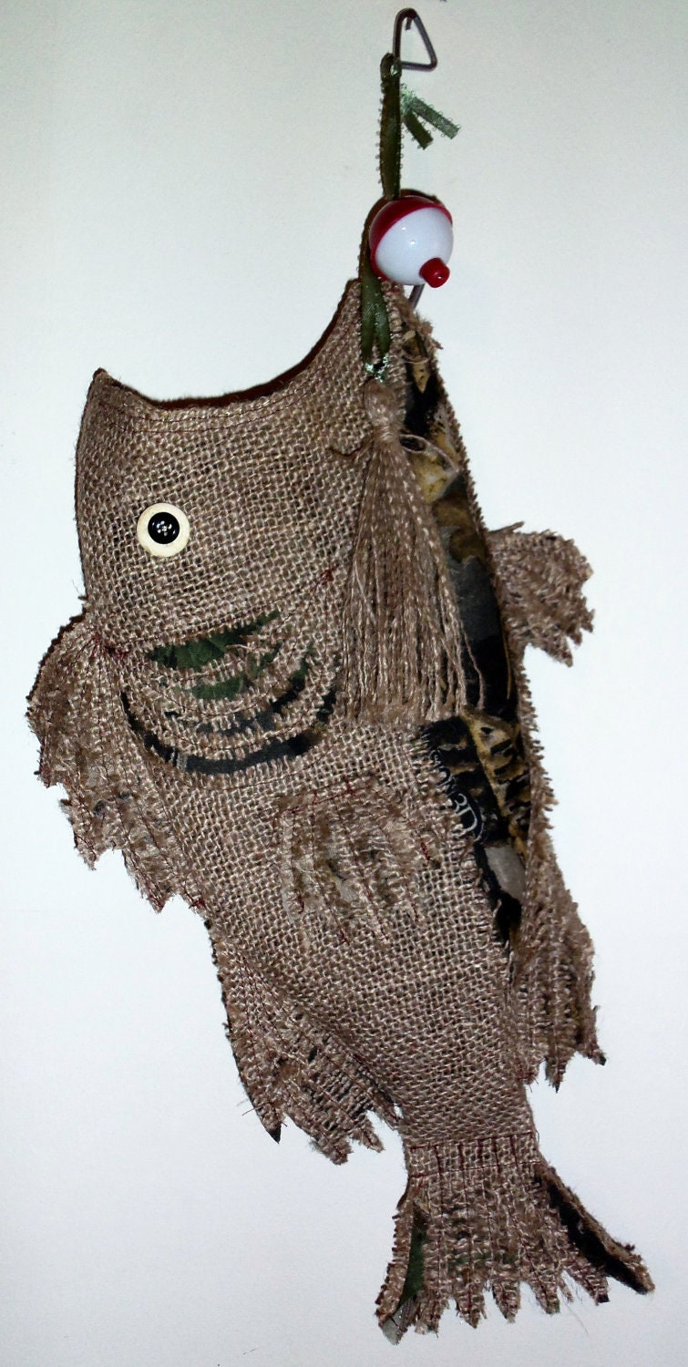 Burlap fish stocking for sharon b special order for Fish christmas stocking