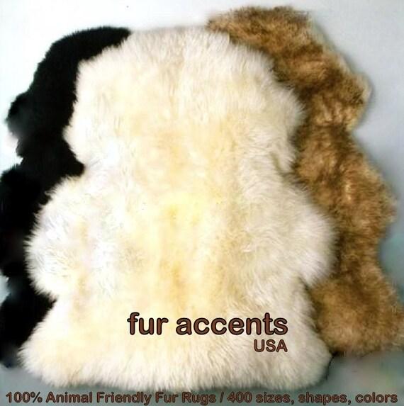 FUR ACCENTS Faux Fur Sheepskin Rug Imitation Pelt By