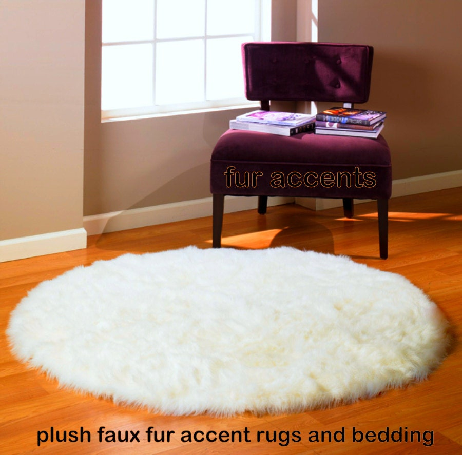 Items Similar To Round Area Rug / Thick Shaggy Off White